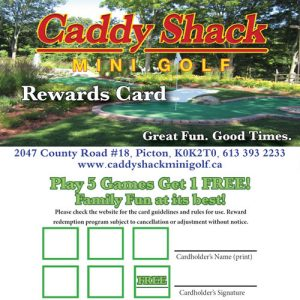 caddy shack mini golf rewards card