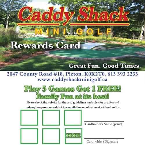 caddy shack mini golf rewards card